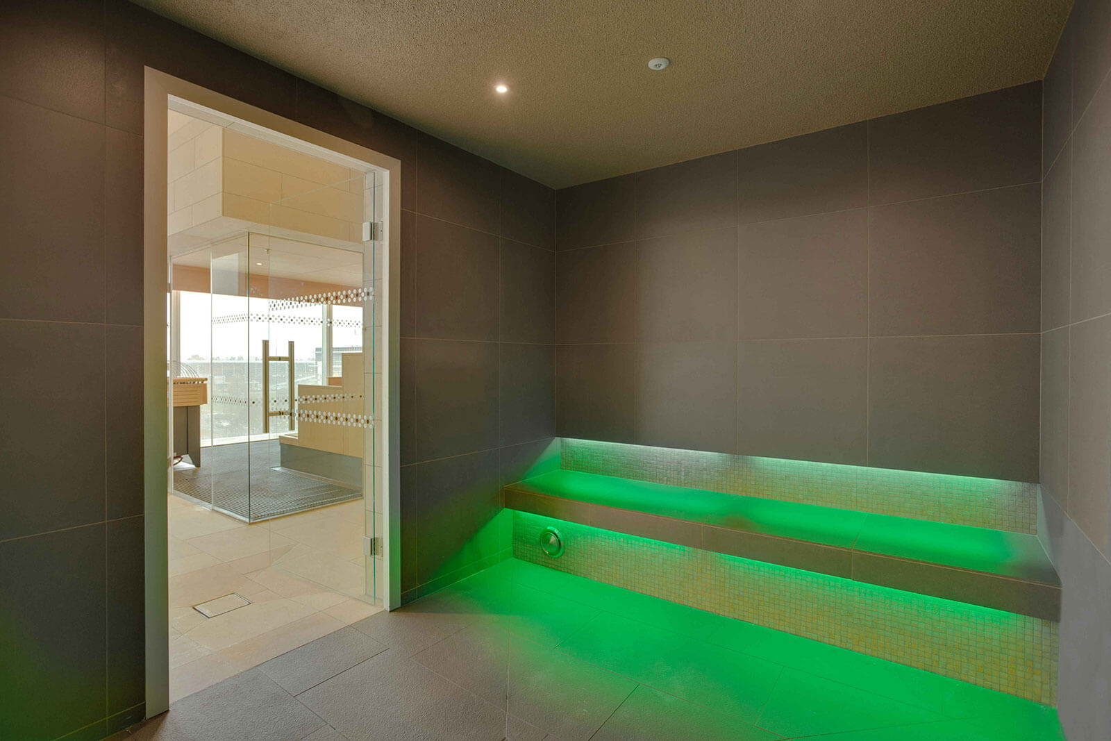 Serene KLAFS Wellness Spa at the Panoramahaus Hotel onlooking the Swiss Mountains