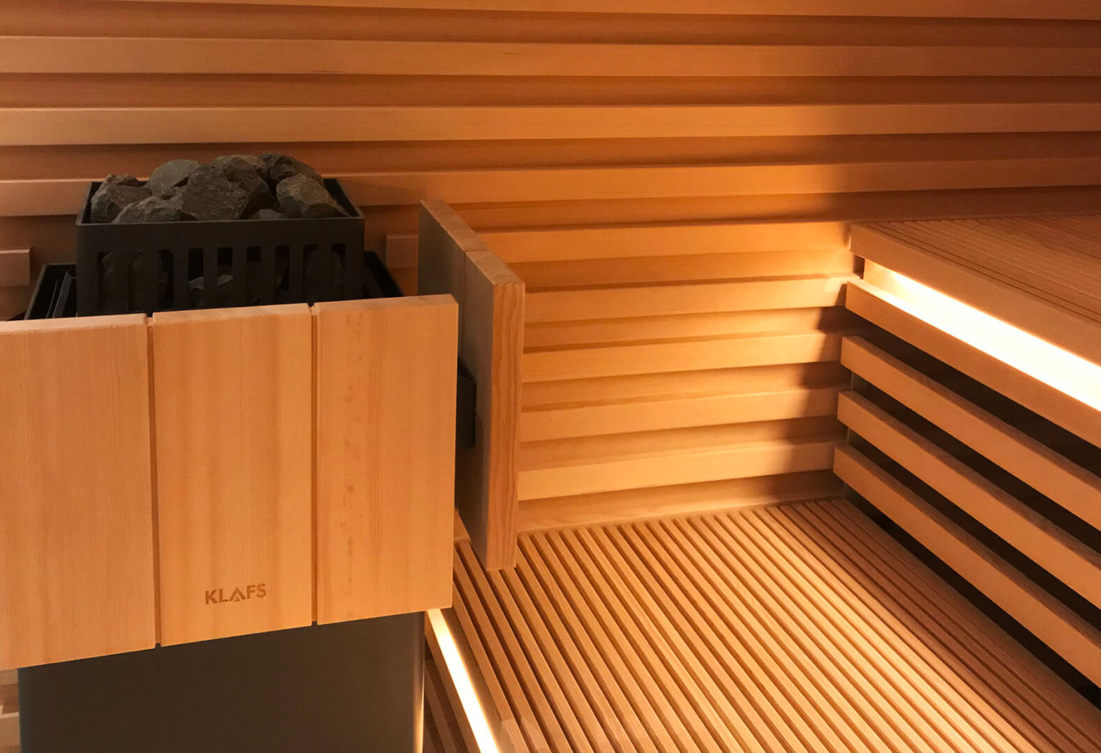 Hemlock benches and KLAFS Sauna heater