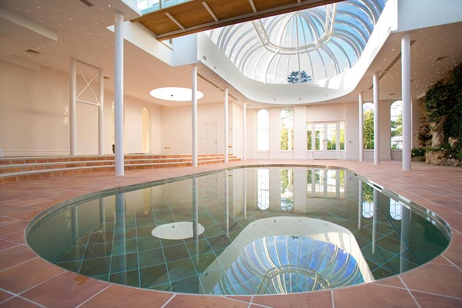 moving floor swimming pool reflecting conservatory roof