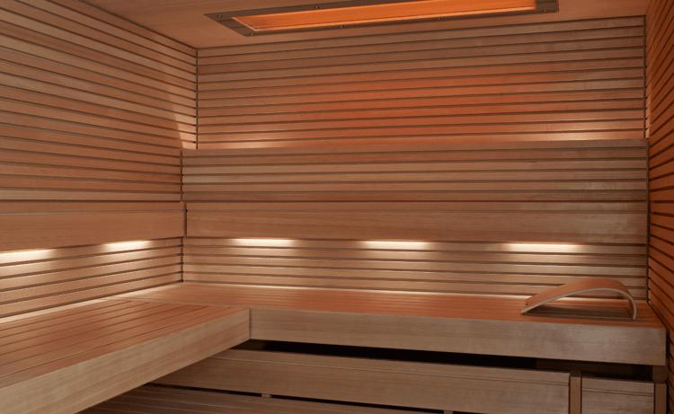 interior of the KLAFS PURE Sauna with wooden slats