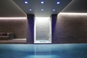 LED lighting features over indoor swimming pool