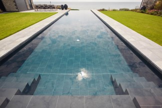 infinity pool on a rooftop garden area