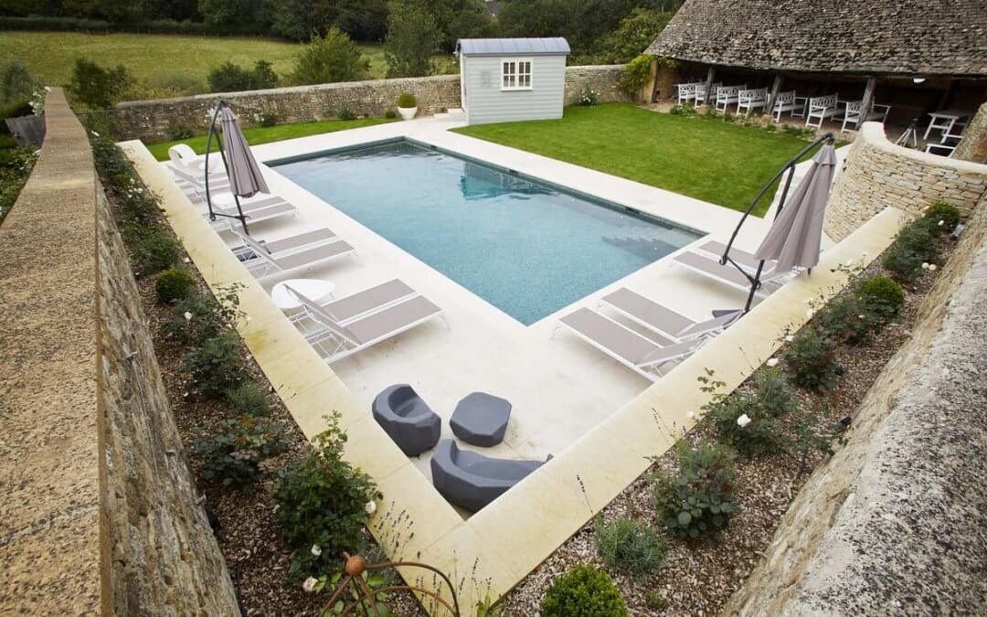 Guncast outdoor swimming pool perfectly complements Cotswolds listed property